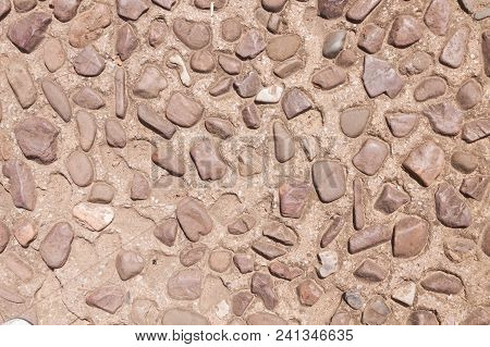 Pebble Stones Floor For Texture And Background .