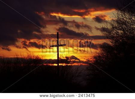 Sunset And Wayside Cross