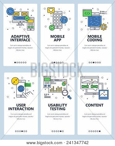 Vector Set Of Mobile App Onboarding Screens. Adaptive Interface, Mobile App, Mobile Coding, User Int