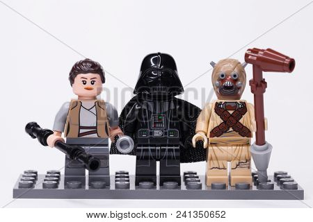RUSSIA, May 16, 2018. Constructor Lego Star Wars. Darth Vader and other mini-figures of Lego Star Wars saga