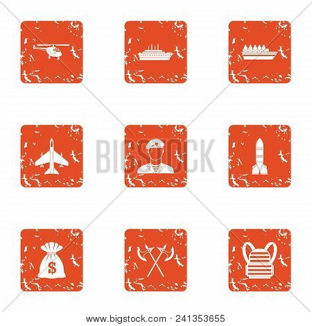 Feat Icons Set. Grunge Set Of 9 Feat Vector Icons For Web Isolated On White Background