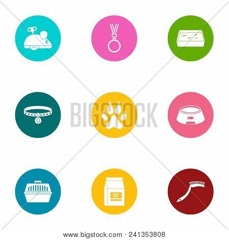 Playful Animal Icons Set. Flat Set Of 9 Playful Animal Vector Icons For Web Isolated On White Backgr