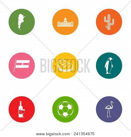 Distant Country Icons Set. Flat Set Of 9 Distant Country Vector Icons For Web Isolated On White Back