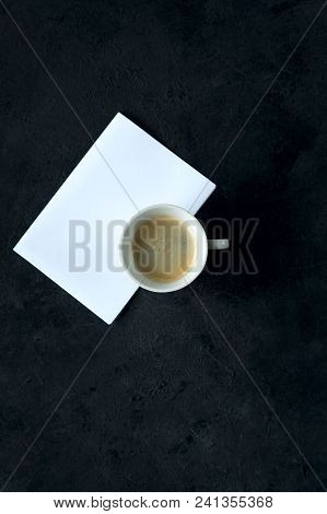 Coffee Cup card for inscriptions wishing good morning on a black background. poster