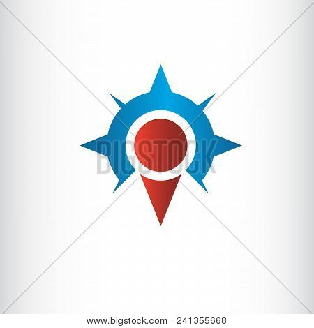 Colored Map Pointer With Symbol Compass. For Location Map. Mark Icon. Sign For Gps Navigation. Index