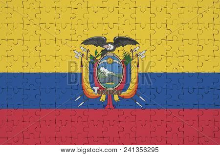Ecuador Flag  Is Depicted On A Folded Puzzle