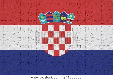 Croatia Flag  Is Depicted On A Folded Puzzle