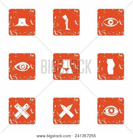 Fix The Limb Icons Set. Grunge Set Of 9 Fix The Limb Vector Icons For Web Isolated On White Backgrou