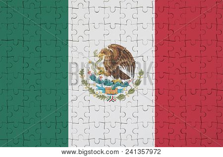 Mexico Flag  Is Depicted On A Folded Puzzle