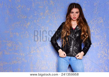 Fashion Model Black Leather Jacket. Pixie Cut Hairstyle. Punk, Rock Style Fashion