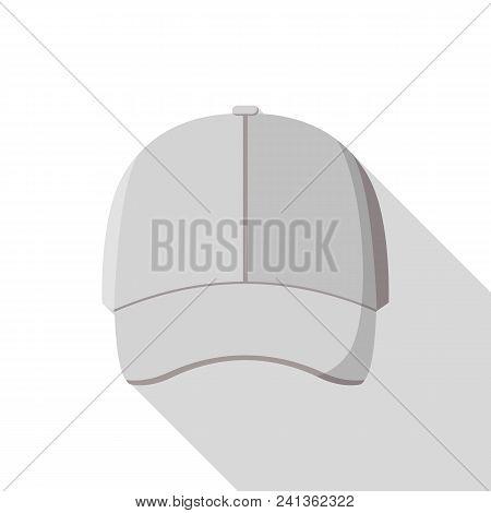 Grey Front Baseball Cap Icon. Flat Illustration Of Grey Front Baseball Cap Vector Icon For Web Desig