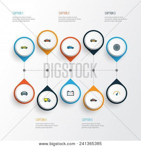 Automobile Icons Colored Line Set With Sport, Car, Battery And Other Sport  Elements. Isolated Vecto