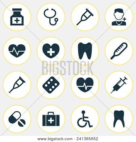 Medicine Icons Set With Medicine, Rack, Pellets And Other Remedy Elements. Isolated Vector Illustrat