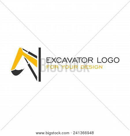 Excavator Logo Vector, Backhoe Icon Logo, Simple Design.