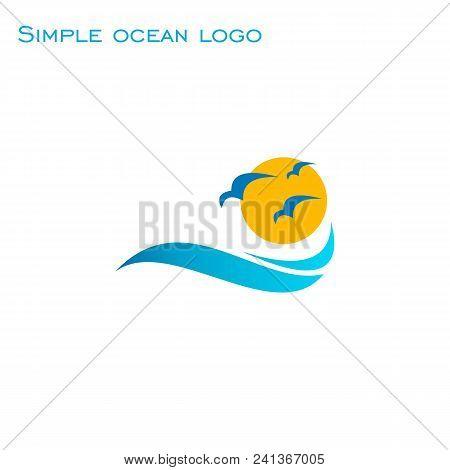 Simple Ocean Wave Logo, Wave Sun And Bird Icon, Vector Illustrations.