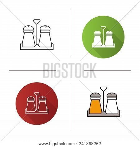 Salt Or Pepper Shaker Icon. Flat Design, Linear And Color Styles. Spice. Isolated Vector Illustratio