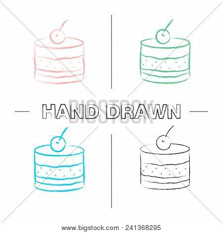 Tiramisu Hand Drawn Icons Set. Cake With Cherry. Color Brush Stroke. Isolated Vector Sketchy Illustr