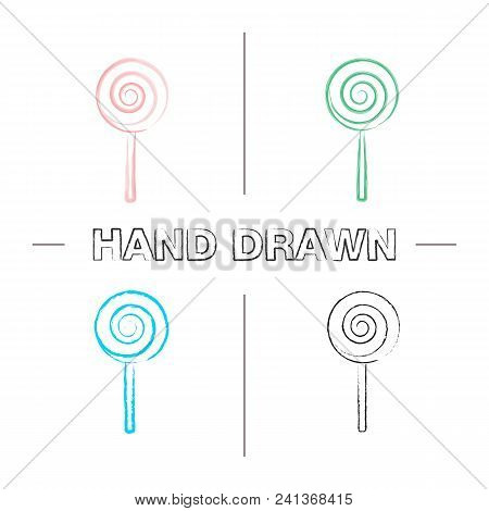 Spiral Lollipop Hand Drawn Icons Set. Color Brush Stroke. Lolly. Sugar Candyisolated Vector Sketchy