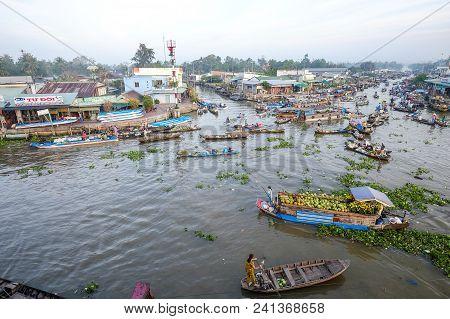 Floating Market In Mekong Delta, Vietnam