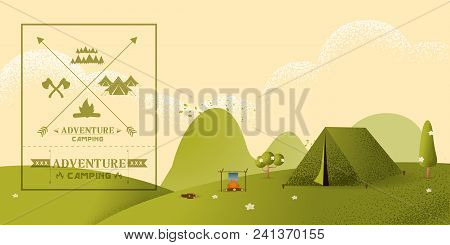 Beautiful Horizontal Nature Landscape. Morning Landscape In The Mountains. Solitude In Nature By The