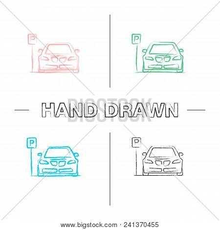 Parking Zone Hand Drawn Icons Set. Car With P Road Sign. Color Brush Stroke. Isolated Vector Sketchy