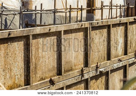 Shielded Steel Formwork For The Construction Of Reinforced Concrete Monolithic Structures. Close-up.