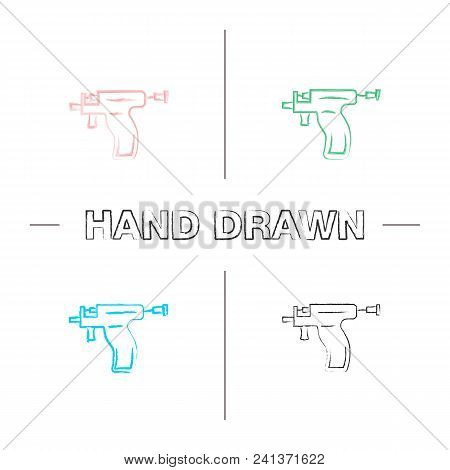 Piercing Gun Hand Drawn Icons Set. Ear Piercing Instrument Color Brush Stroke. Isolated Vector Sketc