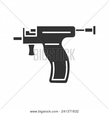 Piercing Gun Glyph Icon. Ear Piercing Instrument. Silhouette Symbol. Negative Space. Vector Isolated