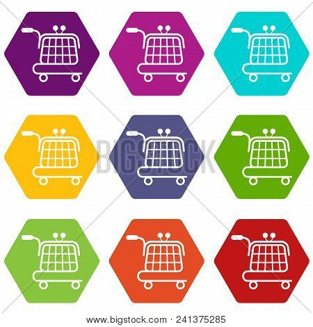 Economy Trolley Icons 9 Set Coloful Isolated On White For Web