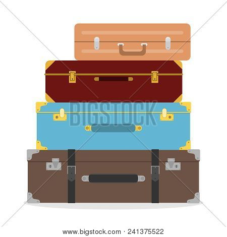 Suitcases, Suitcases Stacked On Top Of Each Other. Suitcase Of The Traveler. Flat Design, Vector Ill