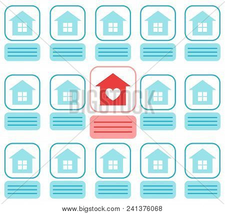 Vector Flat Illustration About House Hunting. Search A New House App. Modern Background With Grid Of