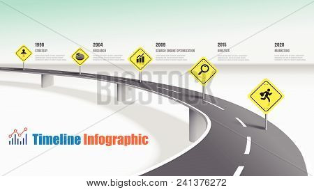 Business Road Map Timeline Infographic Expressway Concepts. Vector Illustration
