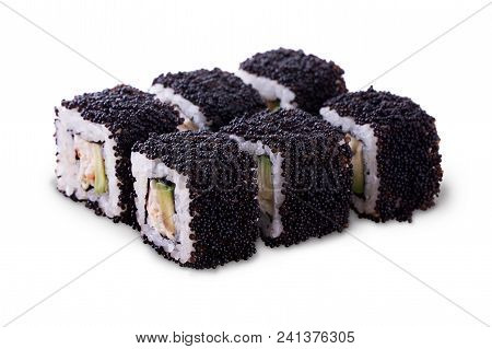One Set Of California Rolls Covered Black Tobiko Or Masago Caviar Isolated On A White Background