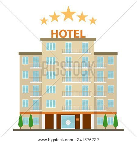 Hotel, Hotel Icon. Five-star Hotel On A White Background. Flat Design, Vector Illustration, Vector.