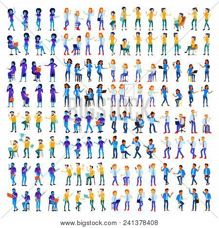 People Set Vector. Man, Woman. Modern Gradient Colors. People Different Poses. Creative People. Desi