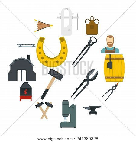 Blacksmith Icons Set In Flat Style Isolated Vector Illustration