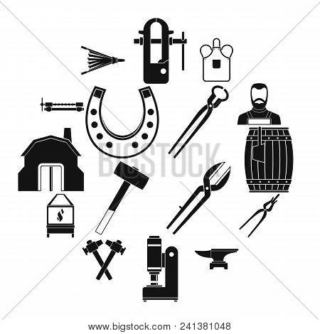 Blacksmith Icons Set. Simple Illustration Of 16 Blacksmith Vector Icons For Web