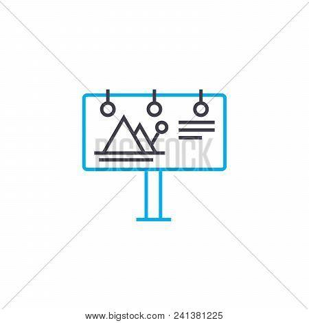 Advertising Billboard Line Icon, Vector Illustration. Advertising Billboard Linear Concept Sign.