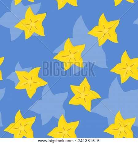Vector Seamless Tropical Pattern With Pieces Of Cannon On Blue Backdrop. Colorful Summer Background.