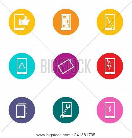 Displaying Icons Set. Flat Set Of 9 Displaying Vector Icons For Web Isolated On White Background
