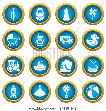 Kids Toys Icons Set. Simple Illustration Of 16 Kids Toys Vector Icons For Web