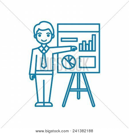 Analyst Line Icon, Vector Illustration. Analyst Linear Concept Sign.