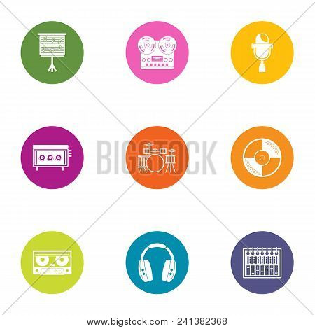Music gang icons set. Flat set of 9 music gang vector icons for web isolated on white background poster