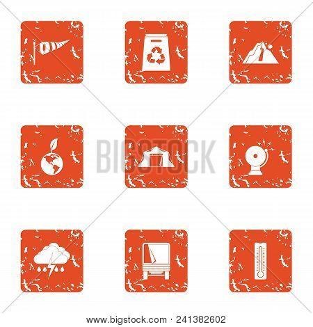 Exchange Of Ecology Icons Set. Grunge Set Of 9 Exchange Of Ecology Vector Icons For Web Isolated On