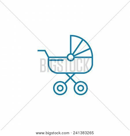 Baby Carriage Line Icon, Vector Illustration. Baby Carriage Linear Concept Sign.