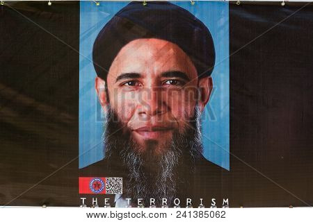 Tehran, Iran, April 25, 2018: Visualisation Of The Former President Of Usa Barack Obama As A Terrori