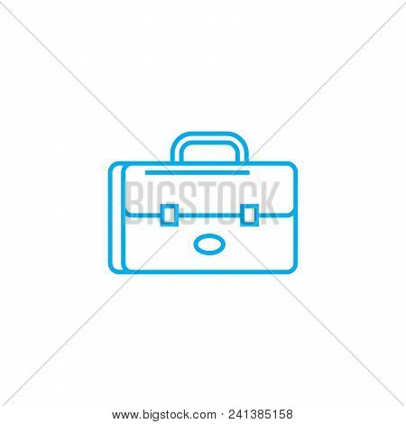 Brief Bag Line Icon, Vector Illustration. Brief Bag Linear Concept Sign.