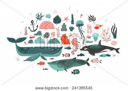 Hand Drawn Vector Abstract Cartoon Graphic Underwater World Big Illustrations Collection Set With Co