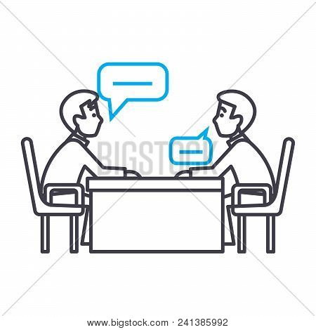 Business Negotiations Line Icon, Vector Illustration. Business Negotiations Linear Concept Sign.