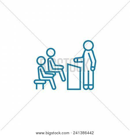 Business Seminar Line Icon, Vector Illustration. Business Seminar Linear Concept Sign.